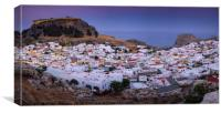 Sunset over Lindos town, Rhodes, Greece, Panoramic, Canvas Print