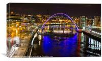 Newcastle Millennium Bridge by Night, Canvas Print