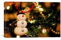 Merry Christmas Snowman, Canvas Print