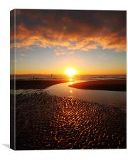 Sand Ripples reflected in a glorious sunset., Canvas Print