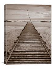 Wooden Slipway Rhos on Sea, Canvas Print