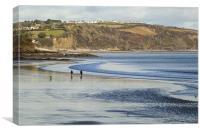 Walking on the beach, Canvas Print