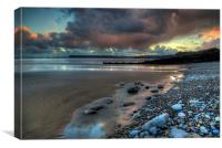 Amroth beach sunset, Canvas Print