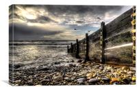 Amroth winter beach, Canvas Print