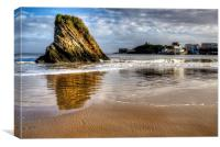 Tenby Harbour and Goscar Rock, Canvas Print
