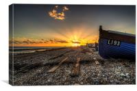 Worthing sunset and fishing boat, Canvas Print