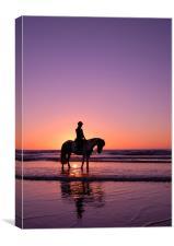 Horse rider at sunset, Canvas Print