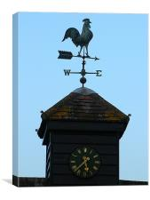 Weather Vane and Clock in Herts, Canvas Print