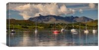 Yachts moored on Loch Portree, Canvas Print