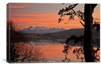 Sunset colours across Loch Portree, Canvas Print