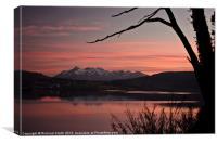 Sunset pink across Loch Portree, Canvas Print
