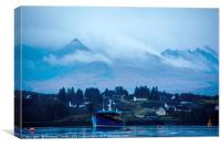Loch Portree and Heatherfield backed by Cuillin Mo, Canvas Print