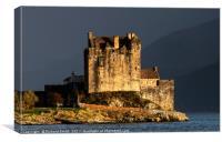 Eilean Donan Castle against a dark wet background, Canvas Print