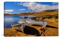 Fishing boats on the shore of Loch Leathan, Canvas Print