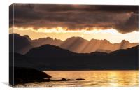 Evening crepuscular rays over the Cuillin Hills., Canvas Print