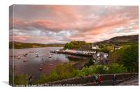 Sunset colour over Loch portree, Canvas Print