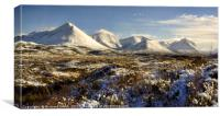 The red Cuillin of Skye with their winter cloak , Canvas Print