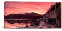 Sunrise over Ben Tianavaig and Loch Portree watche, Canvas Print