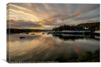 Banded cloud highlights Portree pier, Canvas Print