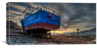Sunrise colour beyond a beached vessel., Canvas Print