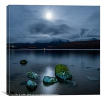 Loch Ainort, Isle of Skye, by moonlight, Canvas Print