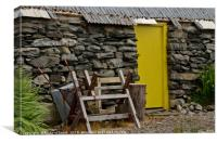 Outhouse yellow door, Canvas Print
