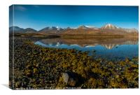 Snow capped Red Cuillin hills reflected., Canvas Print