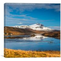 Wide view of the Storr and Loch Fada., Canvas Print