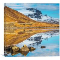Standing in Loch Fada to photograph the Storr., Canvas Print
