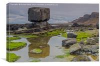 Balanced rock near Staffin Slip., Canvas Print