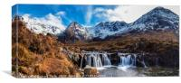 Looking over a waterfall up Coire na Creiche, Canvas Print