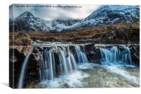 Looking over a waterfall up Coire na Creiche #2, Canvas Print