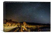 A mainroad by car light and star light., Canvas Print