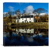 Shore side house reflection., Canvas Print