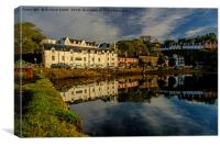 Beaumont Crescent reflected in Loch Portree., Canvas Print