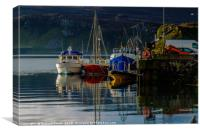 Moored to Portree pier at first sunlight #3, Canvas Print