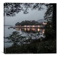 At 22:10hrs a drizzly evening across Loch Portree, Canvas Print