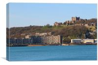 View of Seafront & Dover Castle, Canvas Print
