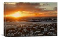 Hallgrimskirkja sunset, Canvas Print