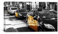 Barcelona Taxi's, Canvas Print