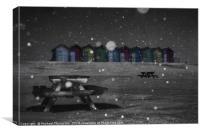 Blyth Beach huts snow scene, Canvas Print