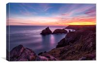 Sunset over Kynance Cove, Canvas Print