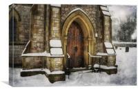 Snowy Church Door, Canvas Print
