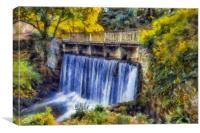 Autumn Waterfall Bridge , Canvas Print