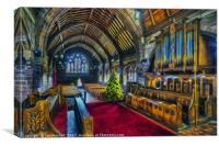 Christmas Church Service, Canvas Print