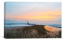 Sun setting over hengistbury head, Canvas Print