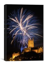 Worcester Cathedral fireworks display, Canvas Print