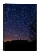 Star trails over Knypersley Pool, the unseen beaut, Canvas Print
