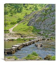 Stepping Stones on river Dove, Canvas Print