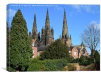 Lichfield three spire Medieval Cathedral., Canvas Print